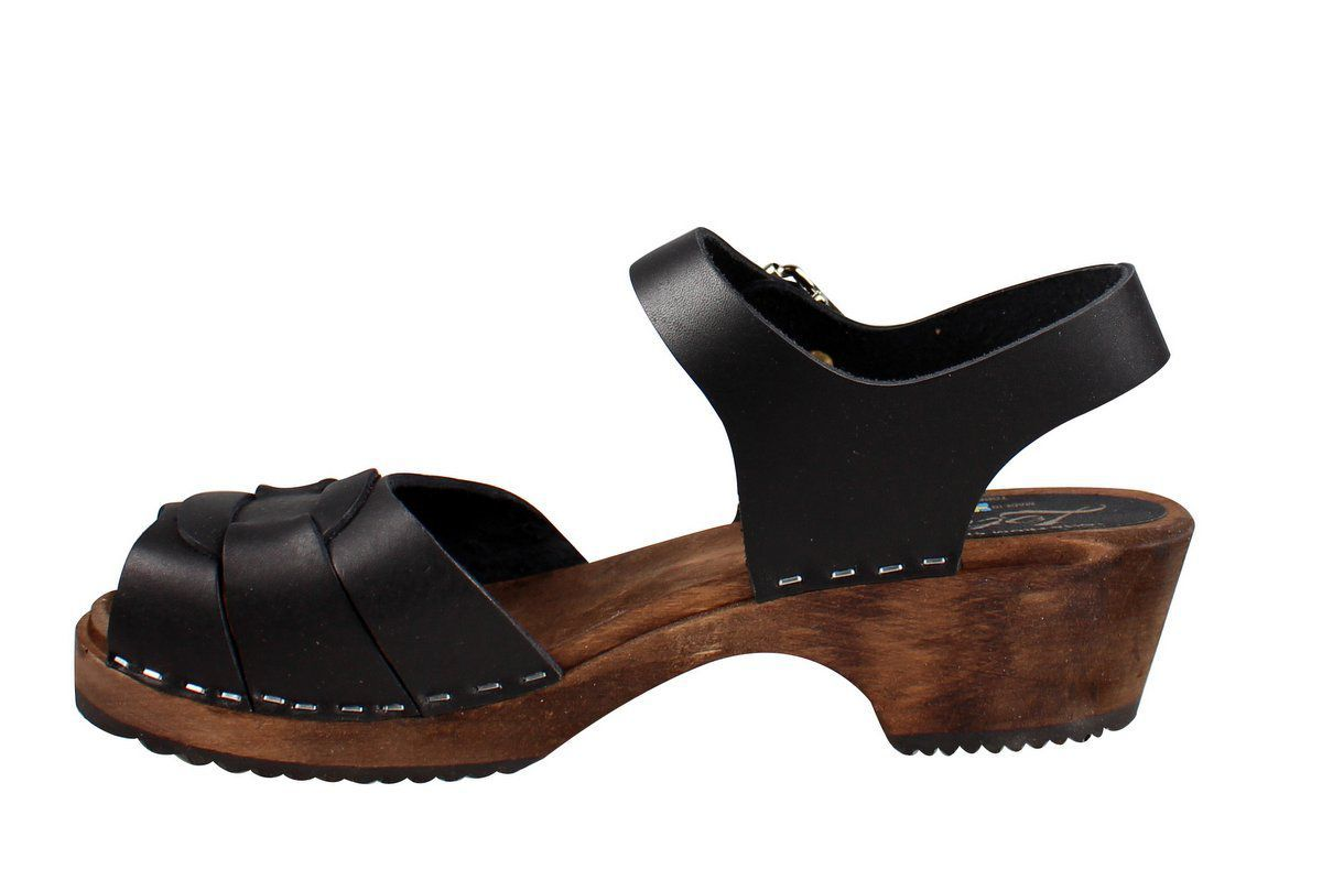 Low Peep Toe Black on Brown Base Seconds