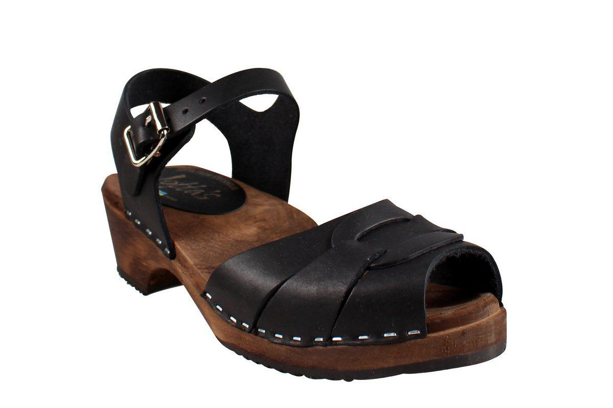 Low Peep Toe Black on Brown Base