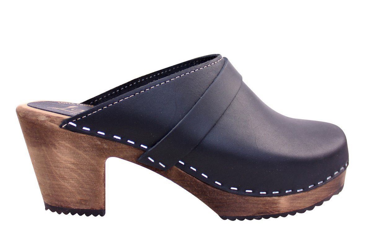High Heel Classic Clog in Black with Brown Base with Strap