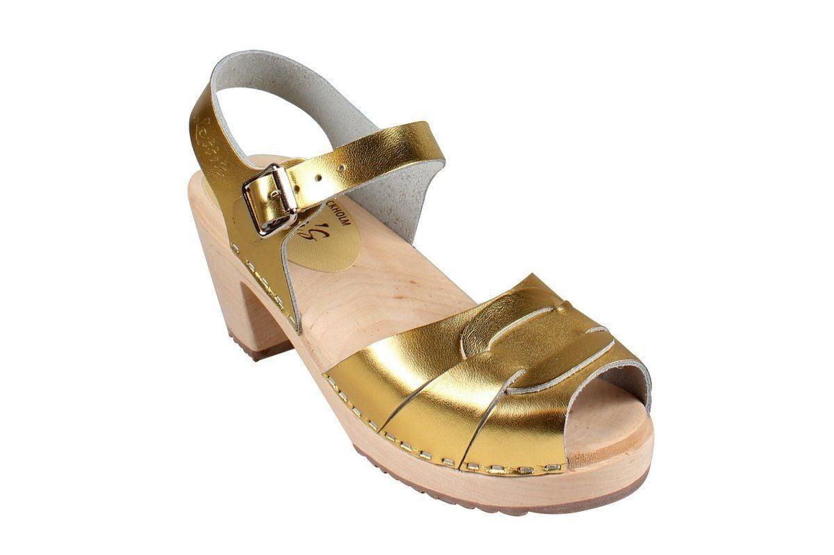 Peep Toe Clogs Gold