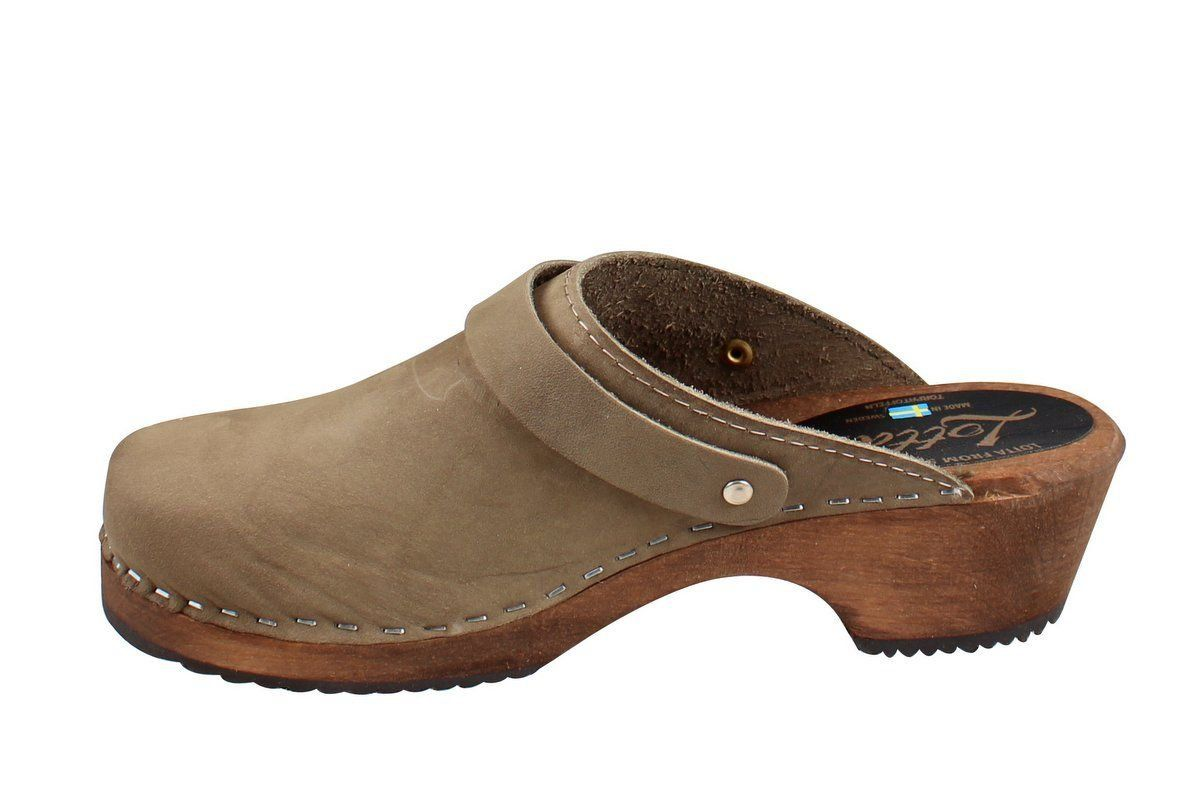 Classic taupe clogs with strap on Brown Base