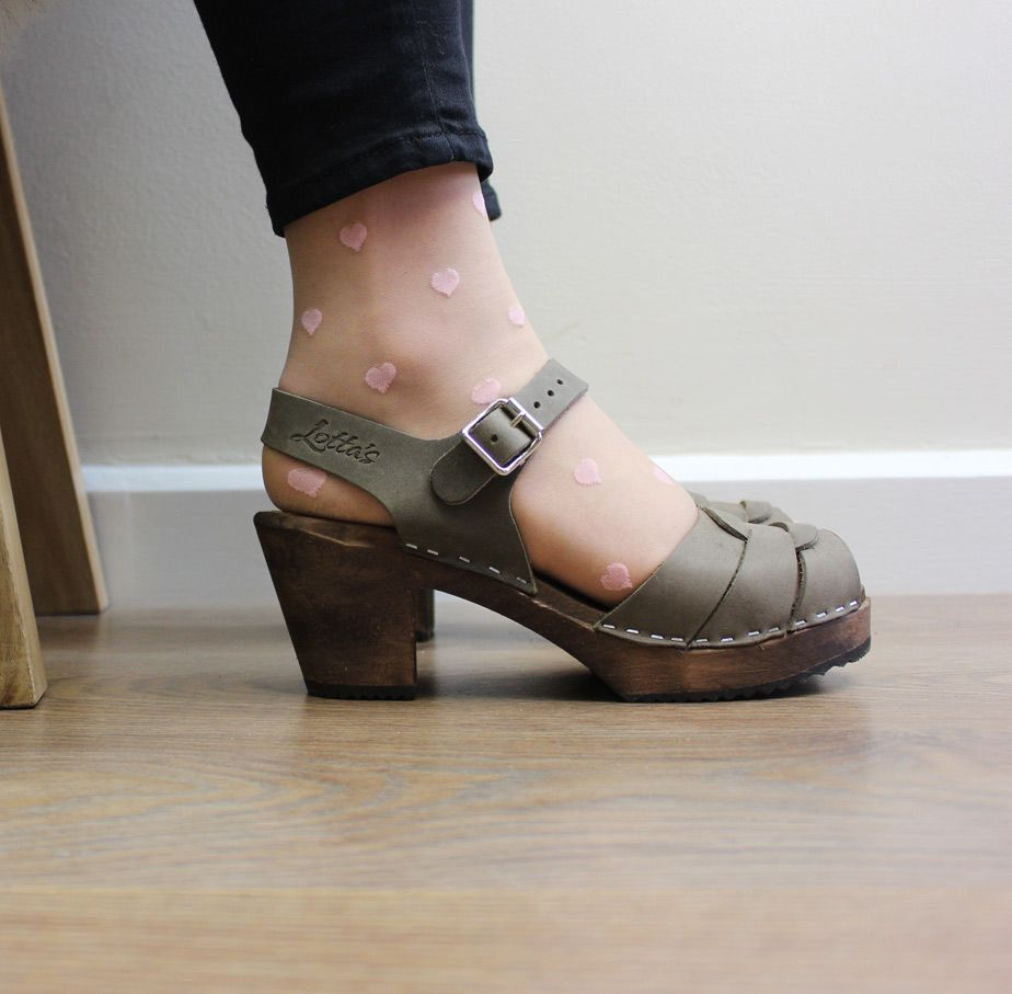 Peep Toe Clogs Taupe Oiled Nubuck Leather on Brown Base Seconds