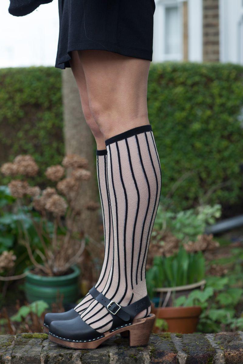 Unmade Copenhagen Stripe Long Sock in Black