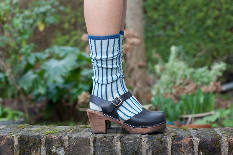 Unmade Copenhagen Stripe Long Sock in Blue Paste