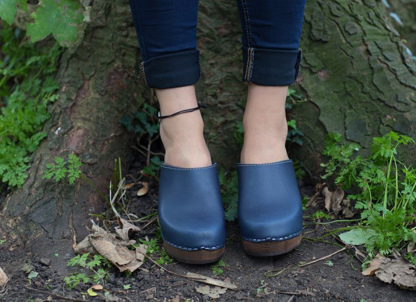 High Heel Classic Clog Navy with Brown Base. Seconds