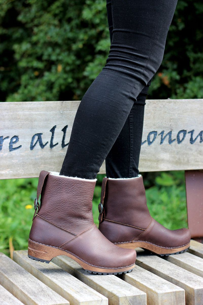Sanita Silkan Wooden Clog Yak Boot Antique Brown