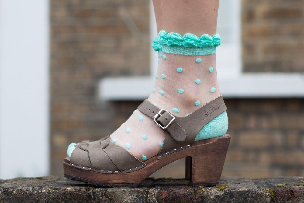 Cutie Pop Spring Green Polka Dot Sheer Socks X 2