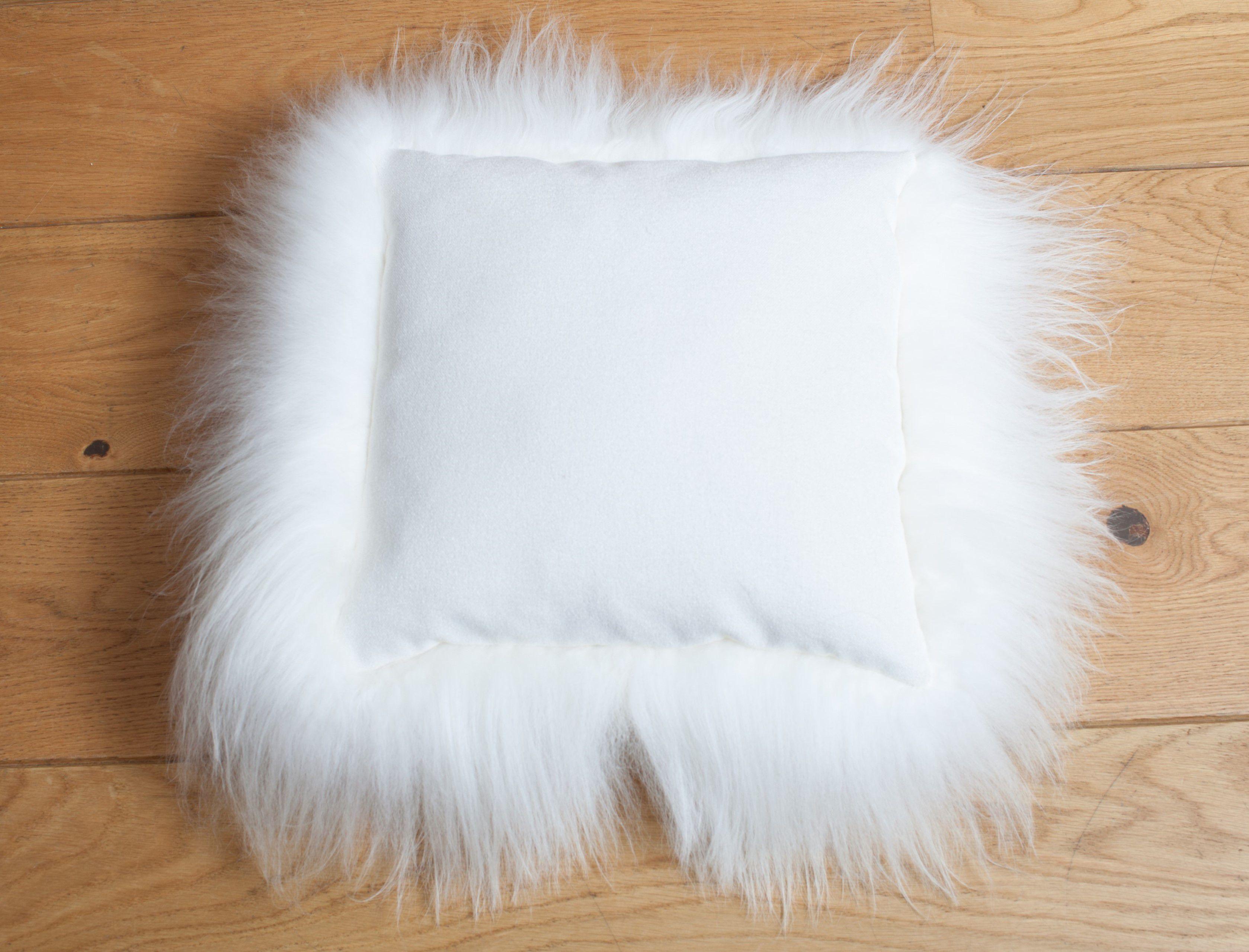 Sheepskin Cushion Long White with Fabric