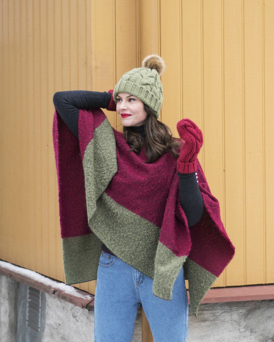 Powder Jess Poncho in Berry and Pea Green