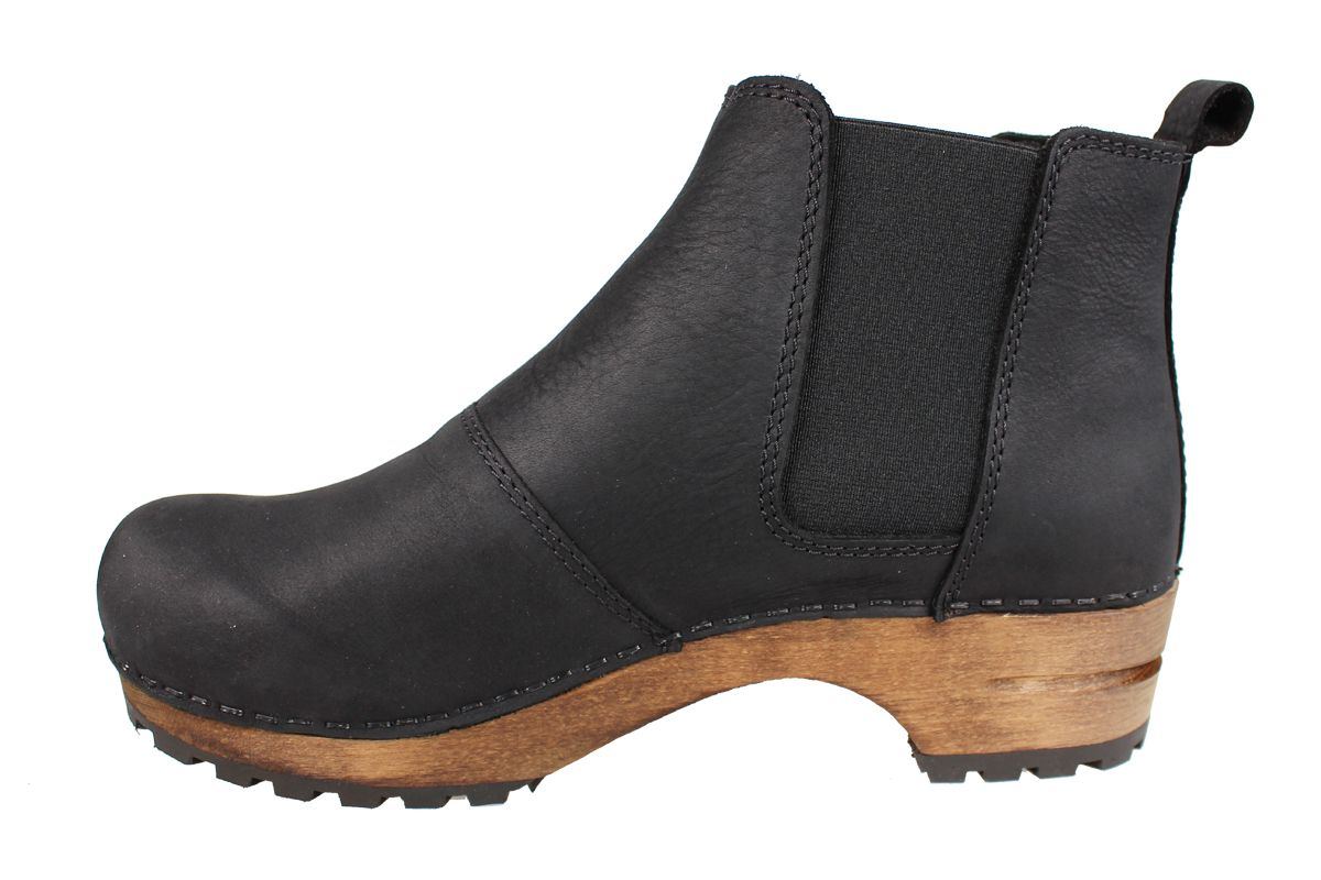 Lotta's Jo Clog Boots in Black Soft Oil Leather