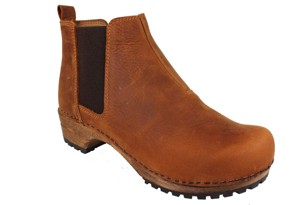 Lotta's Jo Clog Boots in Cognac Soft Oil Leather