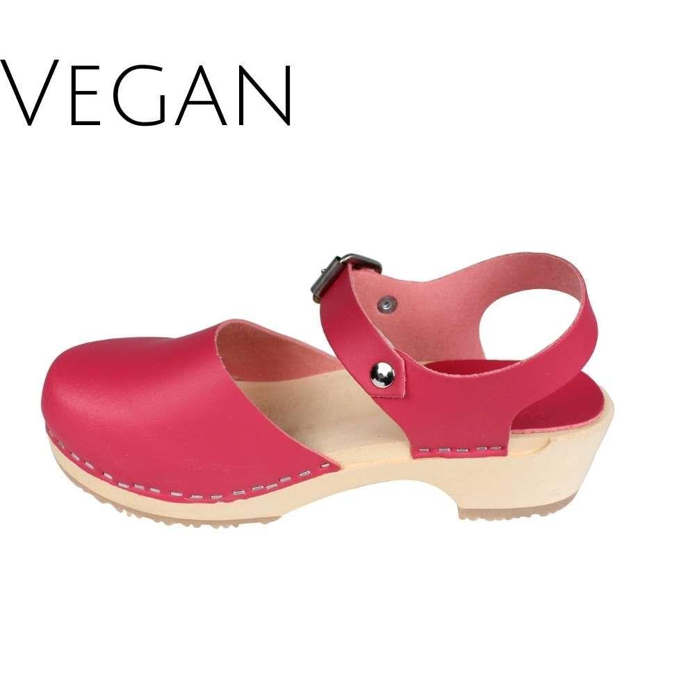 Vegan Greta Low Wood Clogs Pink Vegan Leather