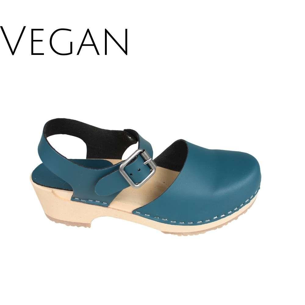 Vegan Greta Low Wood Clogs Teal Vegan Leather
