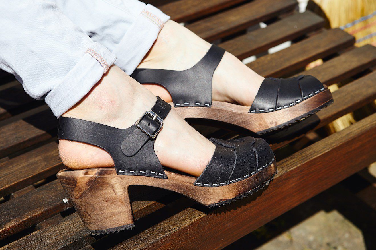 Peep Toe Clogs Black on Brown Base. Seconds