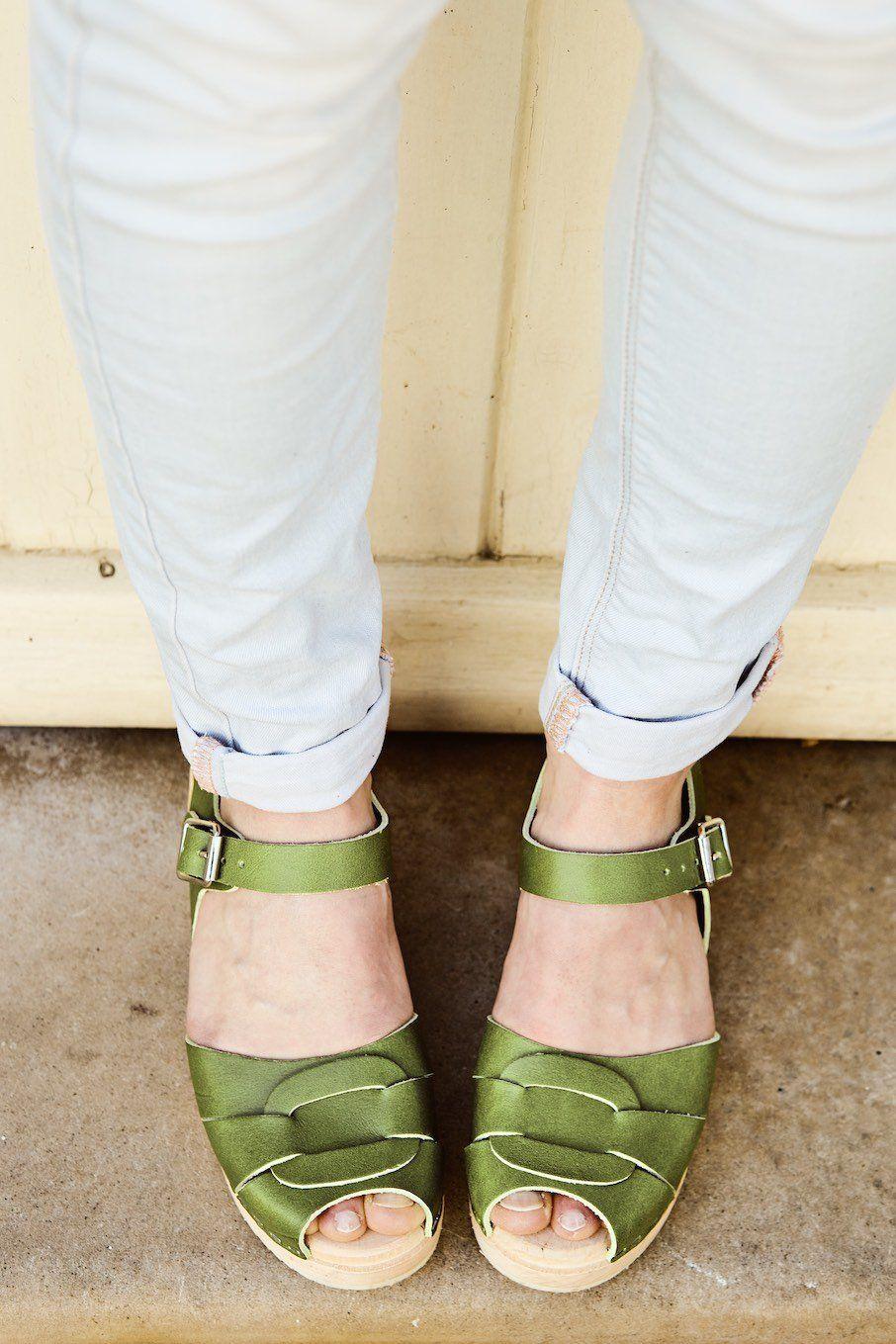 Low Peep Toe Apple Green. Seconds