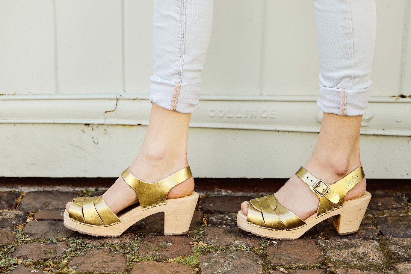 Peep Toe Clogs Antique Gold Seconds