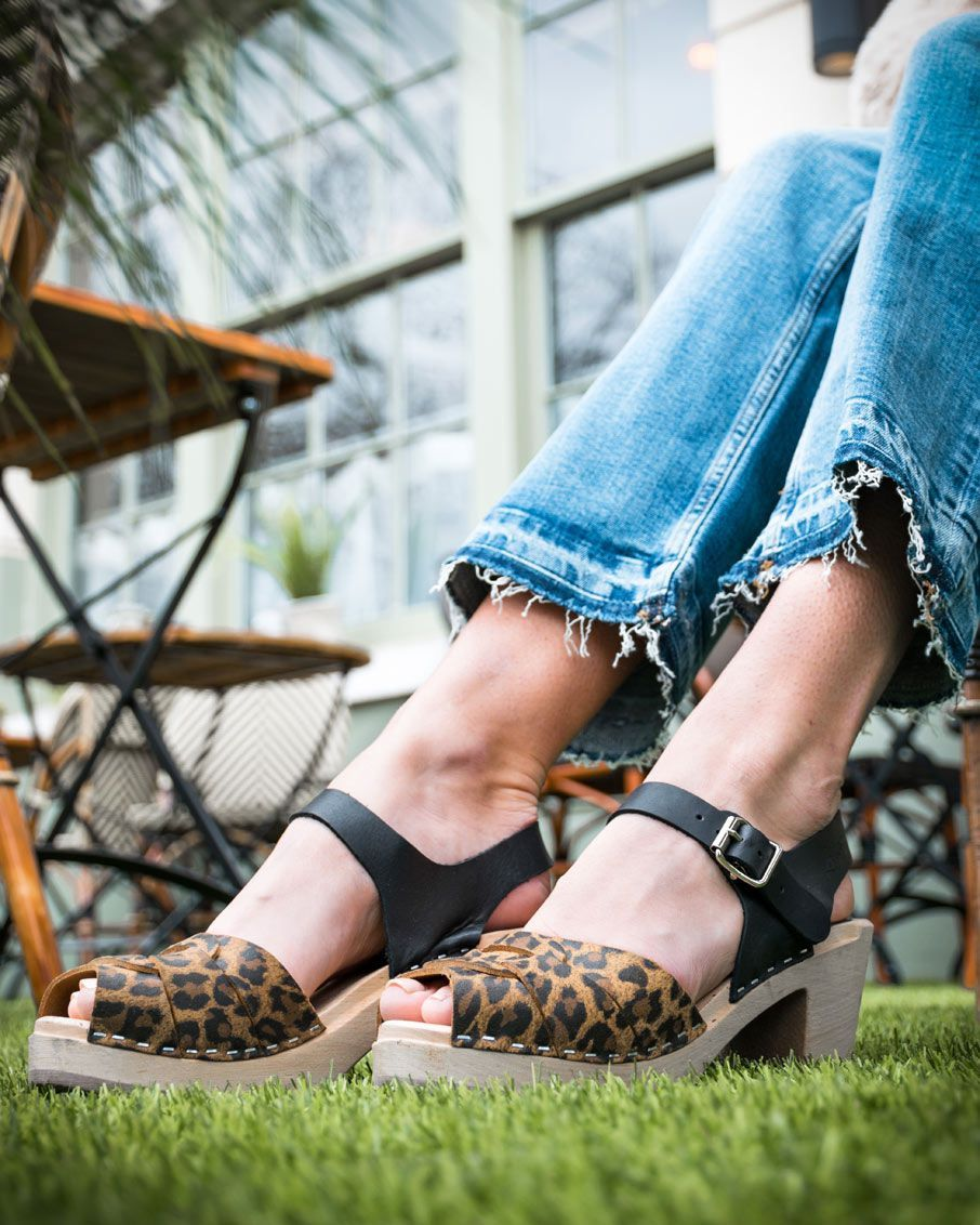 Peep Toe Clogs Leopard Print and Black
