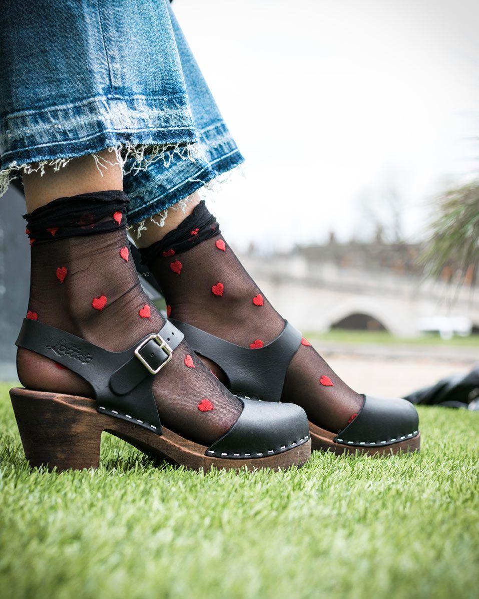 Romantic Black Red Heart Sheer Socks X 2