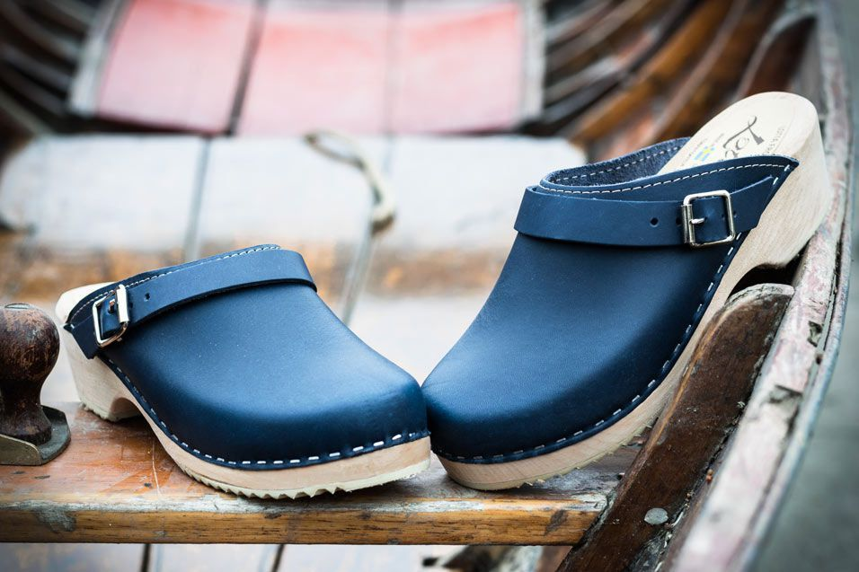 Classic navy clogs with strap. Seconds