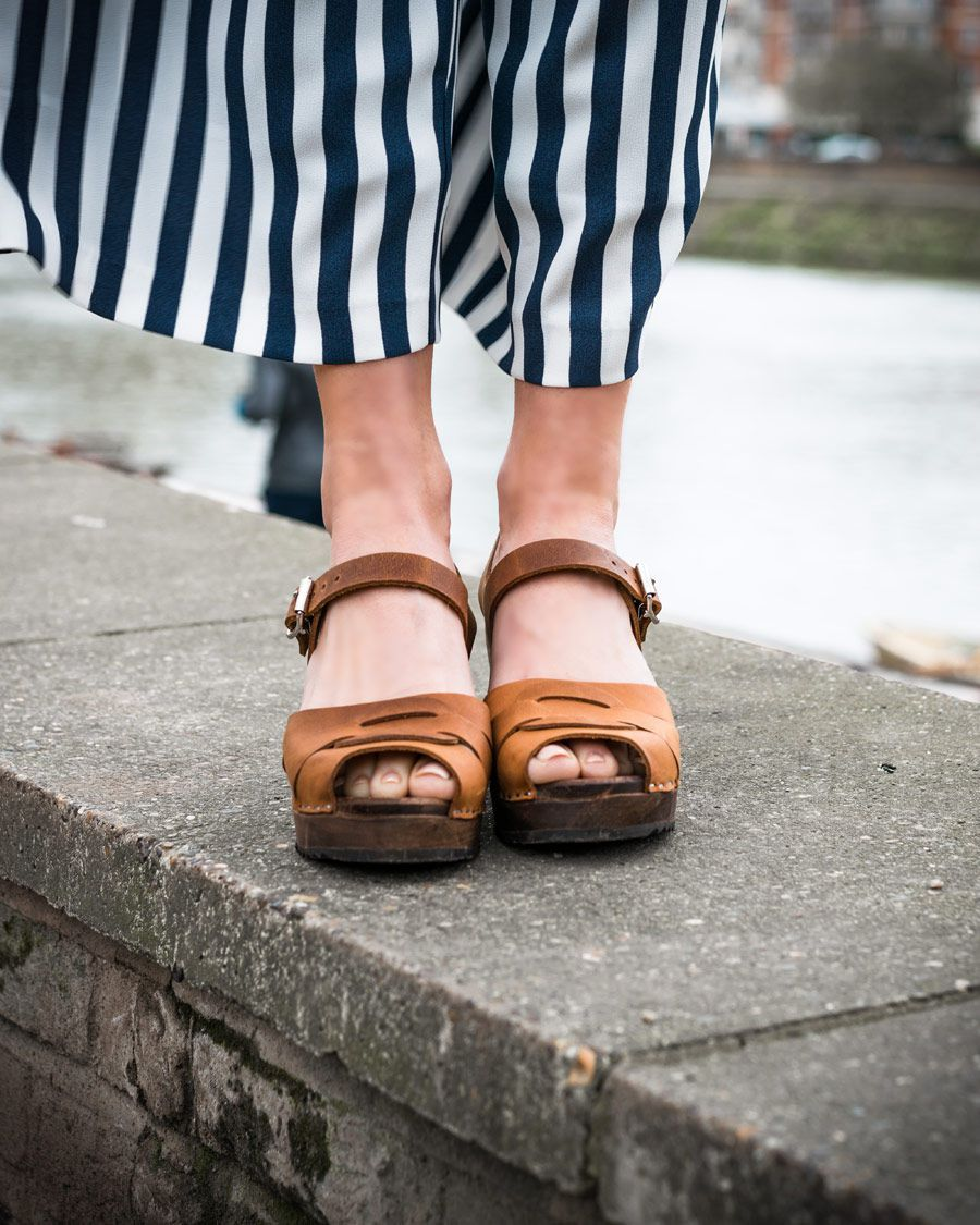 Peep Toe Clogs Brown Oiled Nubuck on Brown Base