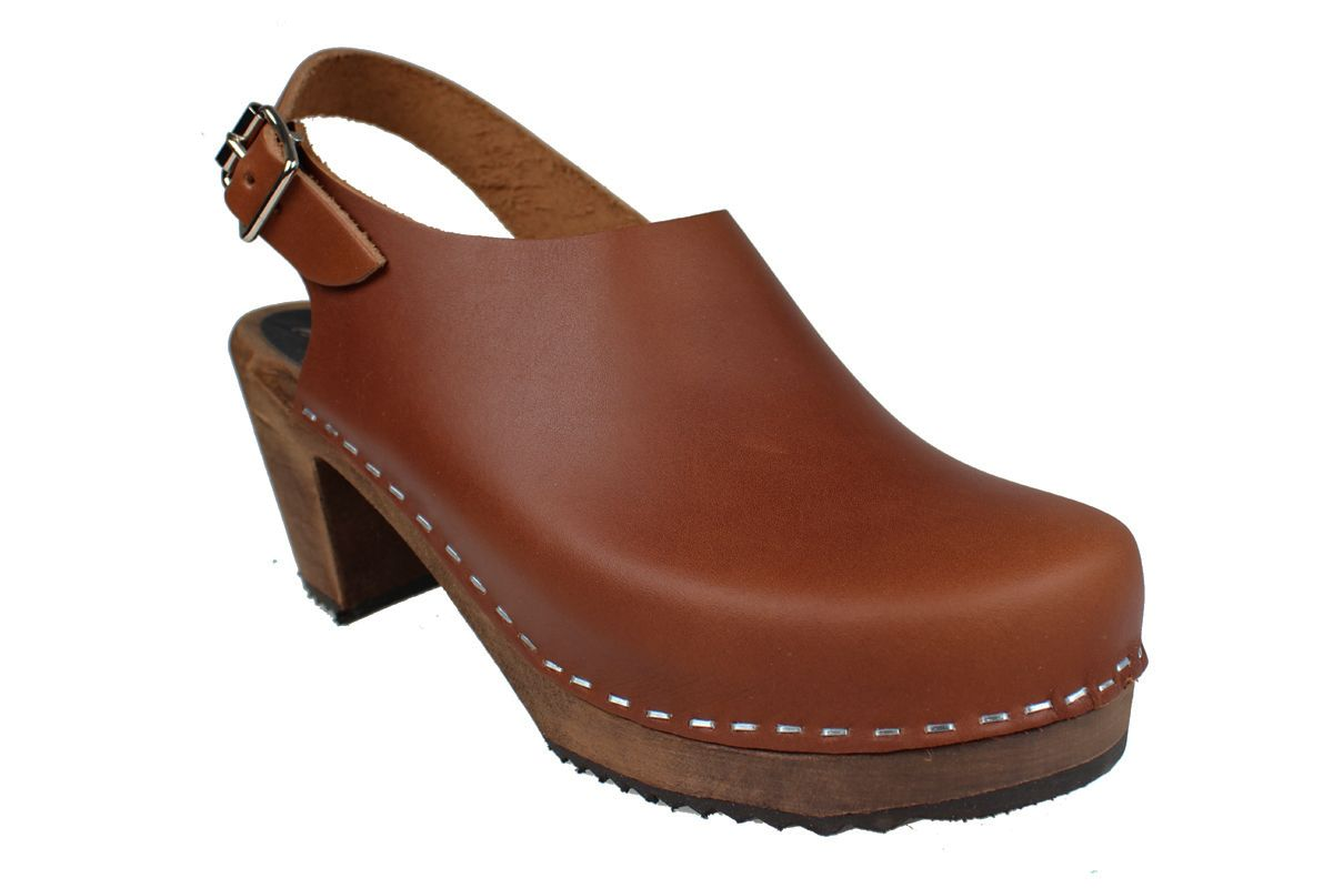 Lotta Sling Cinnamon Clogs on Brown Base Seconds