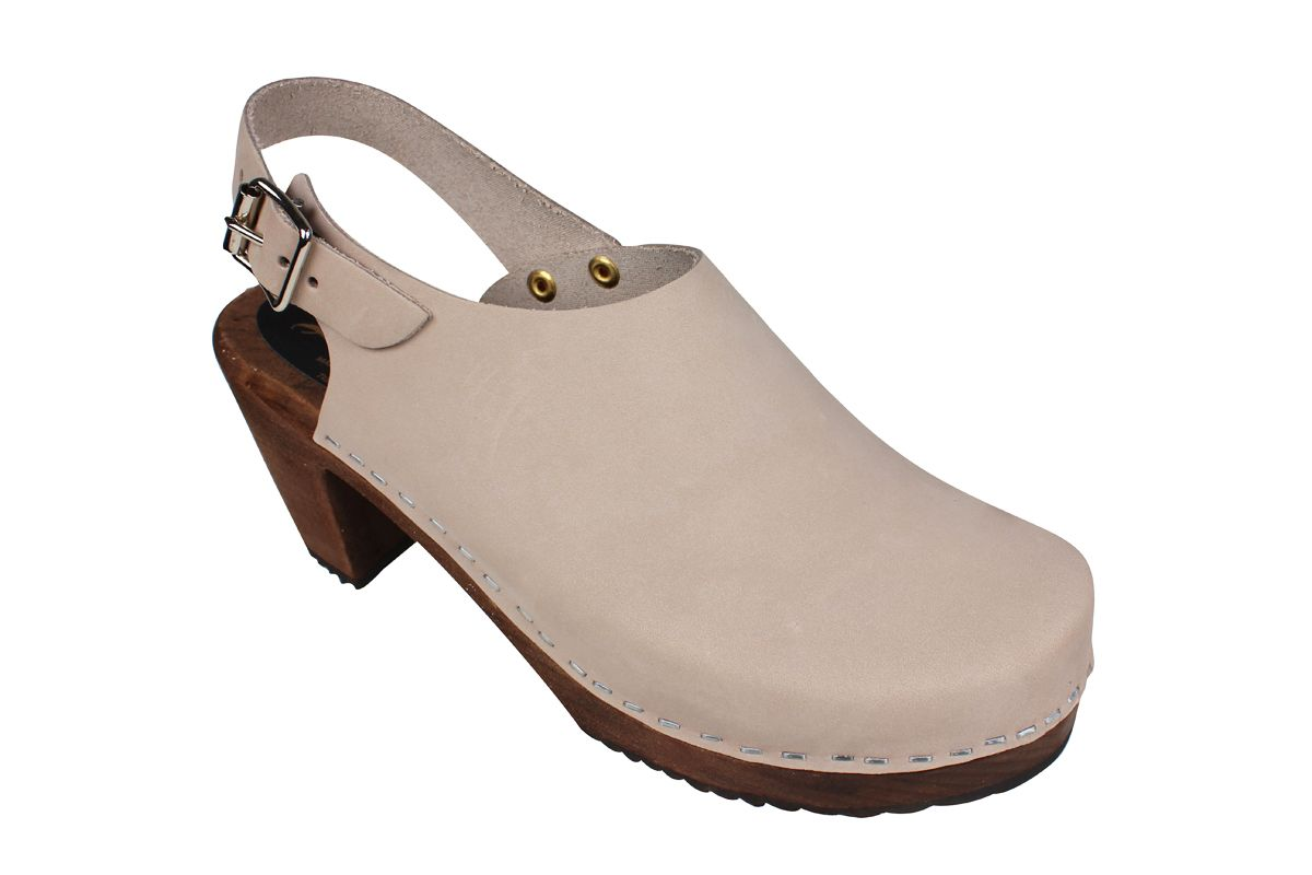 Lotta Sling Oatmeal Oiled Nubuck Clogs on Brown Base Seconds