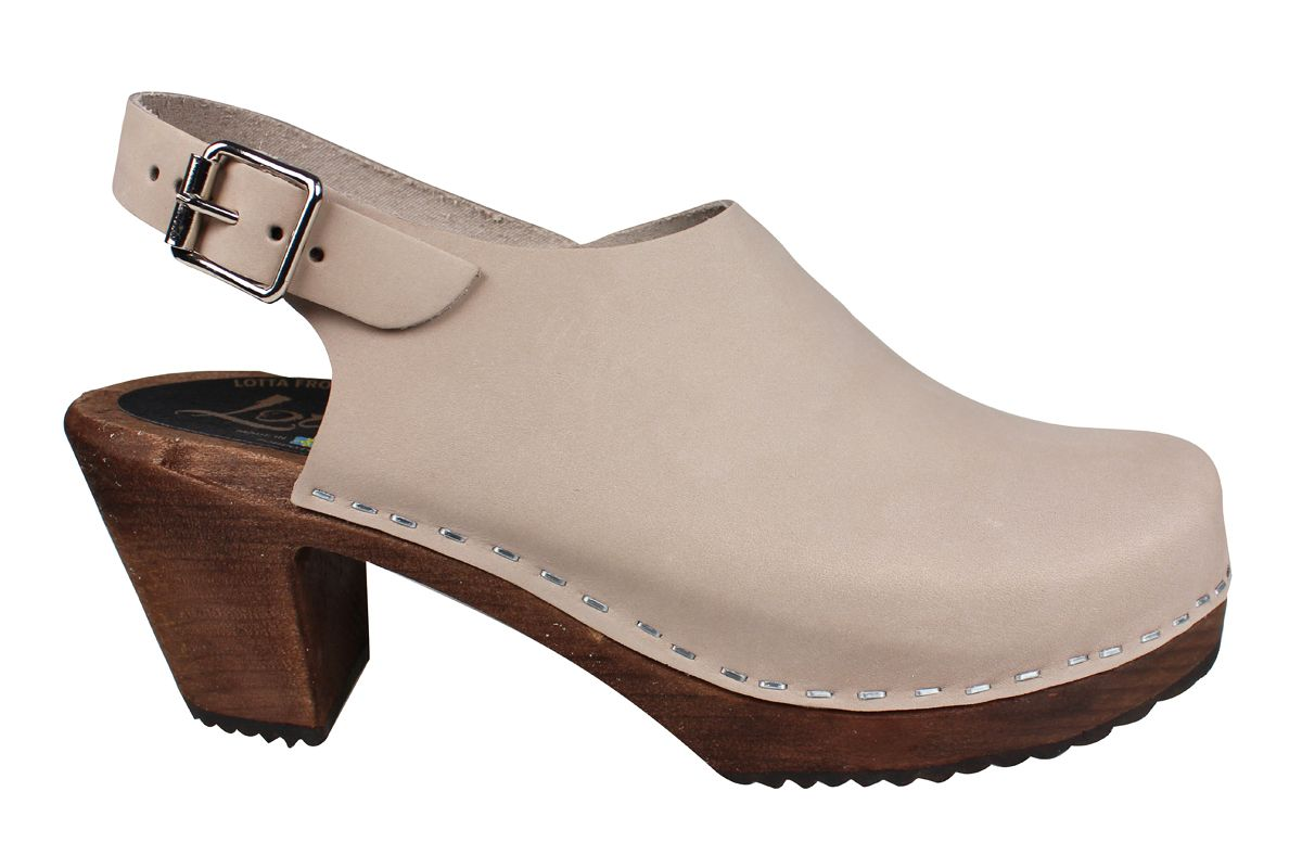 Lotta Sling Oatmeal Oiled Nubuck Clogs on Brown Base