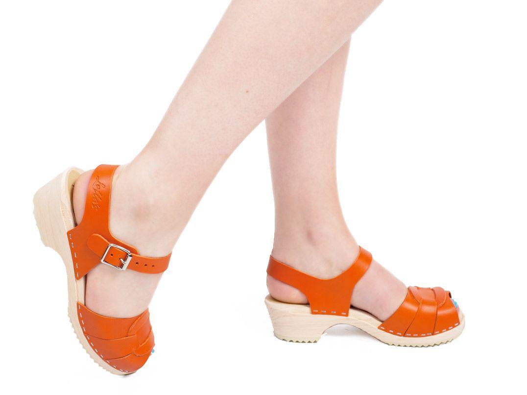Low Peep Toe Orange