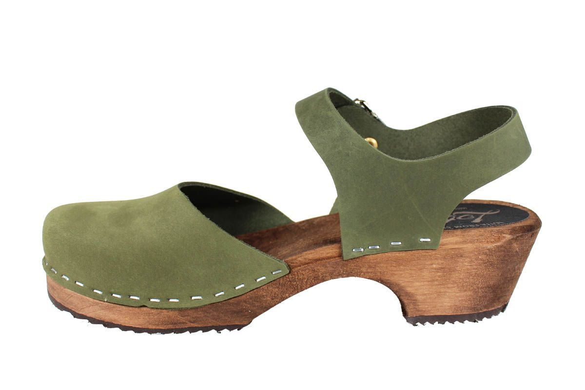 Low Wood Green Oiled Nubuck on Brown Base