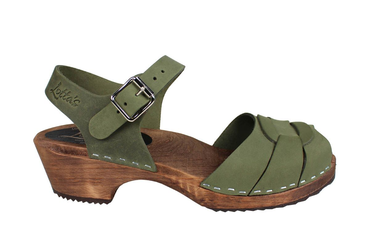 Low Peep Toe Green Oiled Nubuck on Brown Base Seconds
