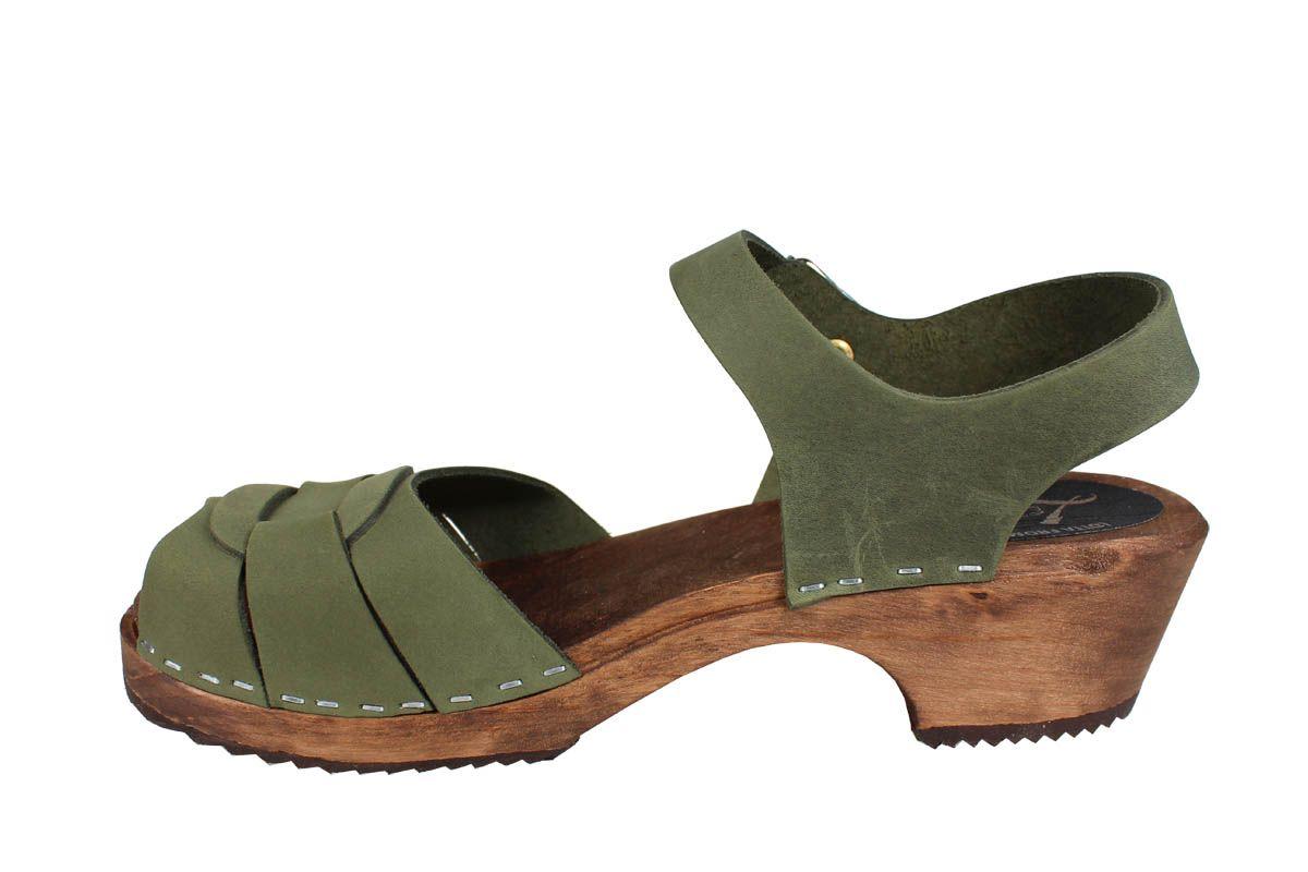 Low Peep Toe Green Oiled Nubuck on Brown Base