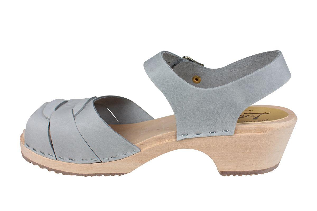 Low Peep Toe Sea Grey Oiled Nubuck Clogs Seconds