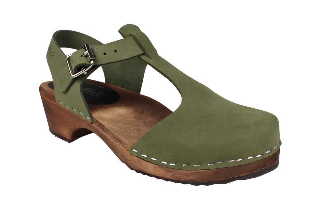 Low Wood T-Bar in Green Oiled Nubuck on Brown Base