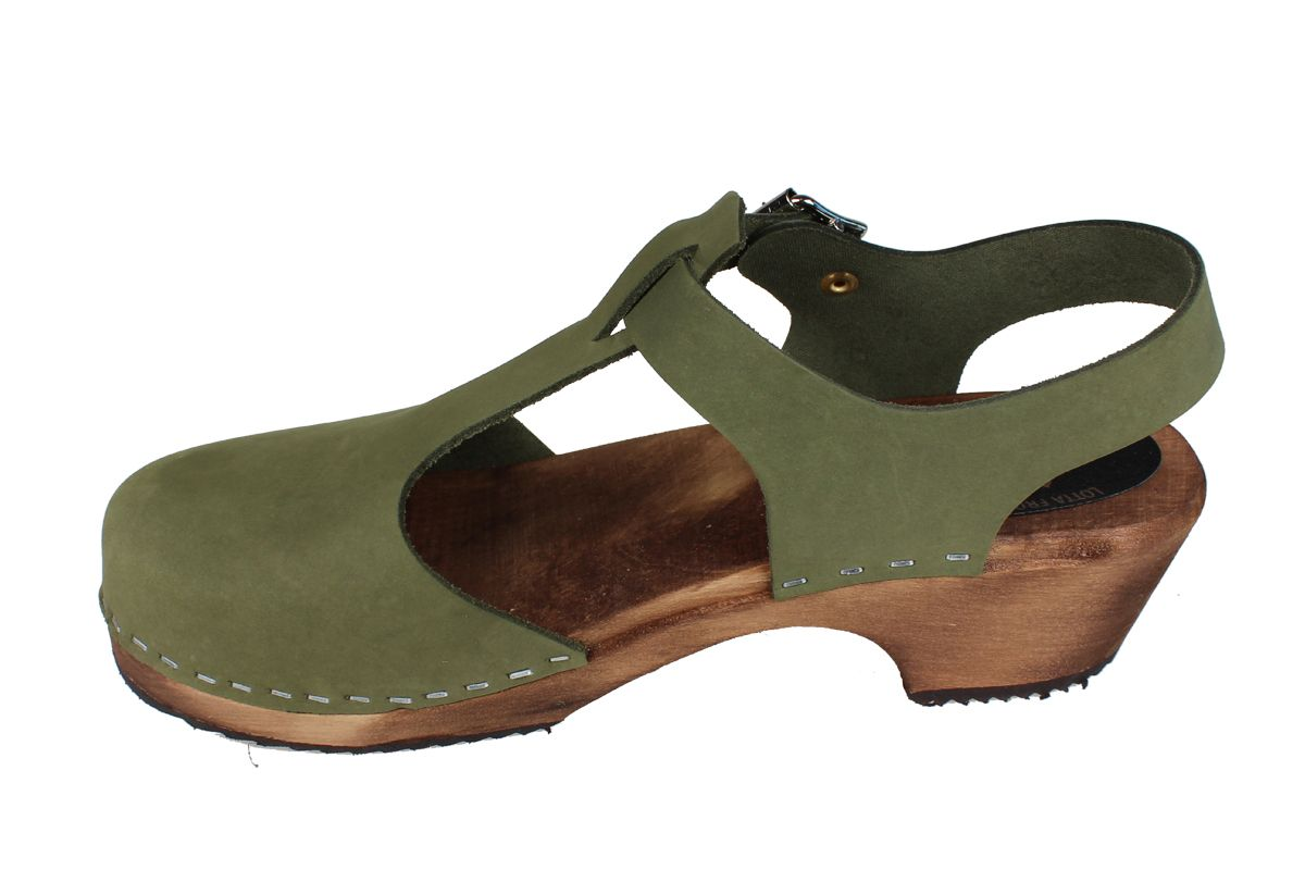 Low Wood T-Bar in Green Oiled Nubuck on Brown Base Seconds