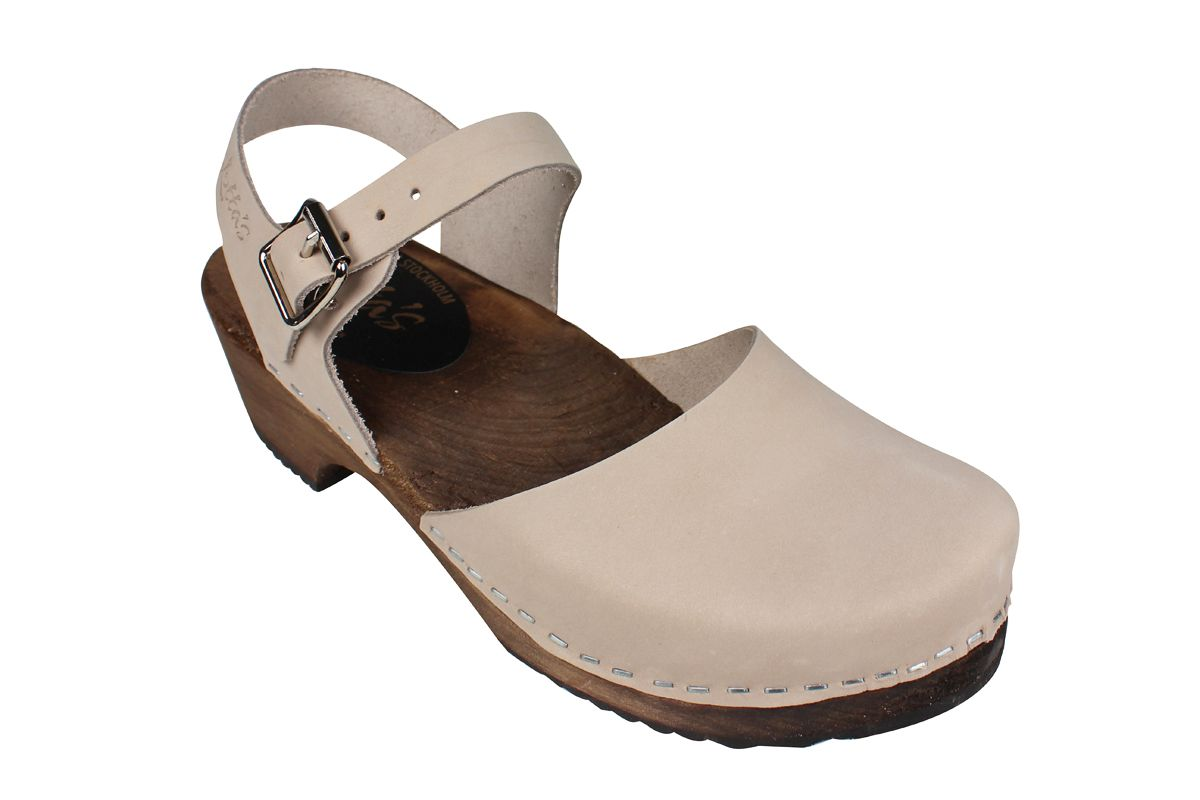 Low Wood Oatmeal Oiled Nubuck Clogs on Brown Base Seconds