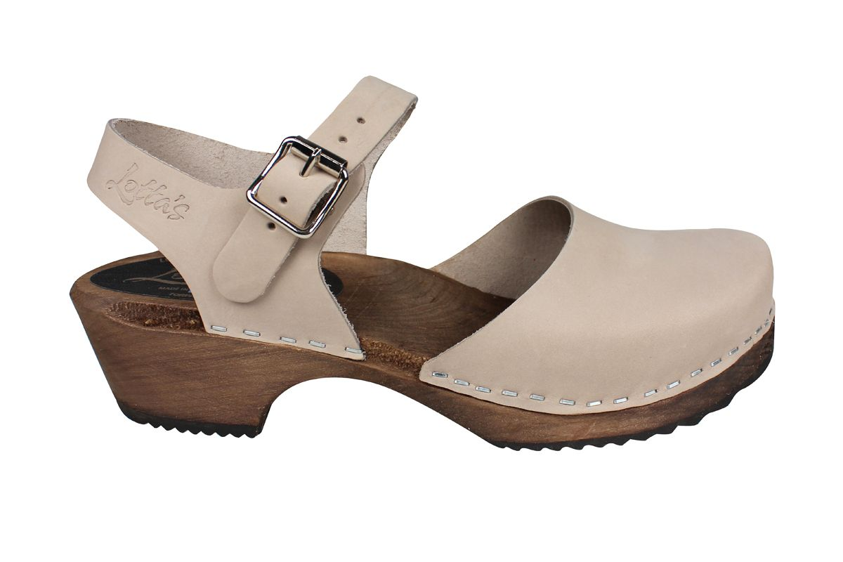 Low Wood Oatmeal Oiled Nubuck Clogs on Brown Base