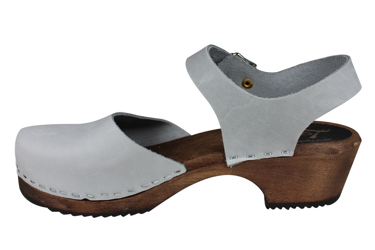 Low Wood Sea Grey Oiled Nubuck Clogs on Brown Base Seconds