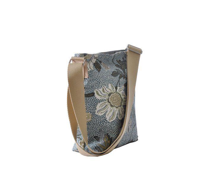 Ceannis Dusty Blue Flower Linen Small Shoulder Bag