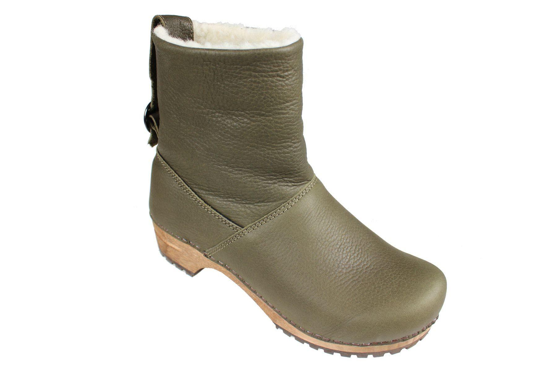 Sanita Silkan Wooden Clog Boot in Yak Waxy Nubuck Olive