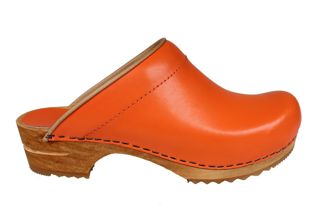 Sanita Lotte Clog in Orange PU Leather