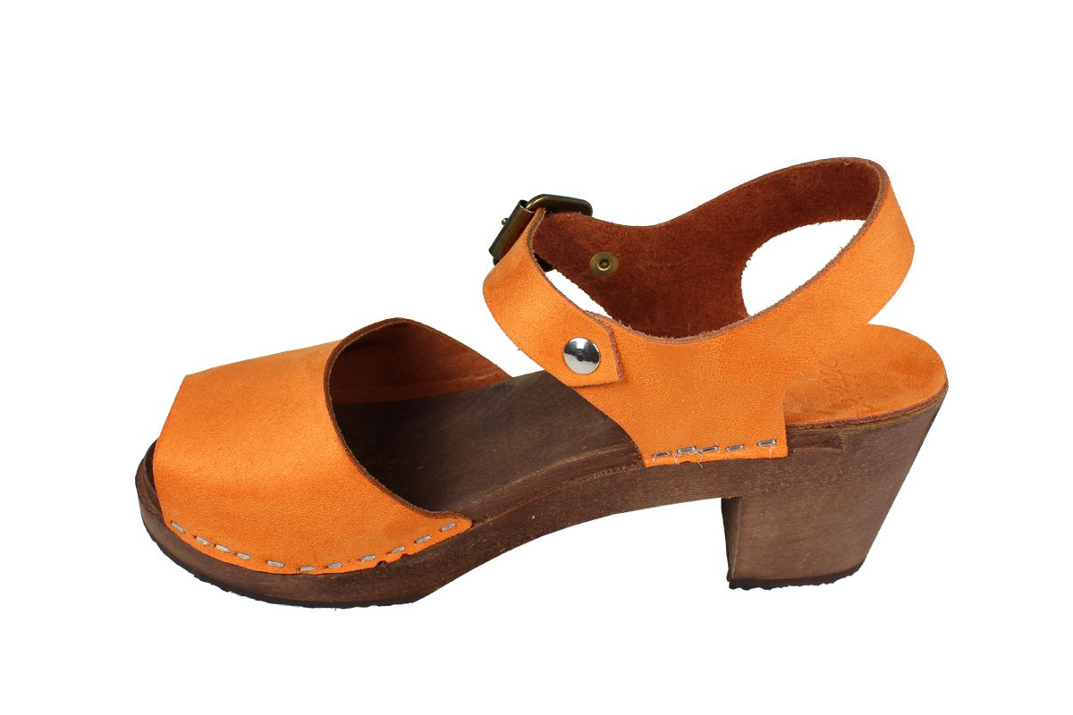 Alicia High Heel Open Orange Micro Style Nubuck Finish with Brown Base