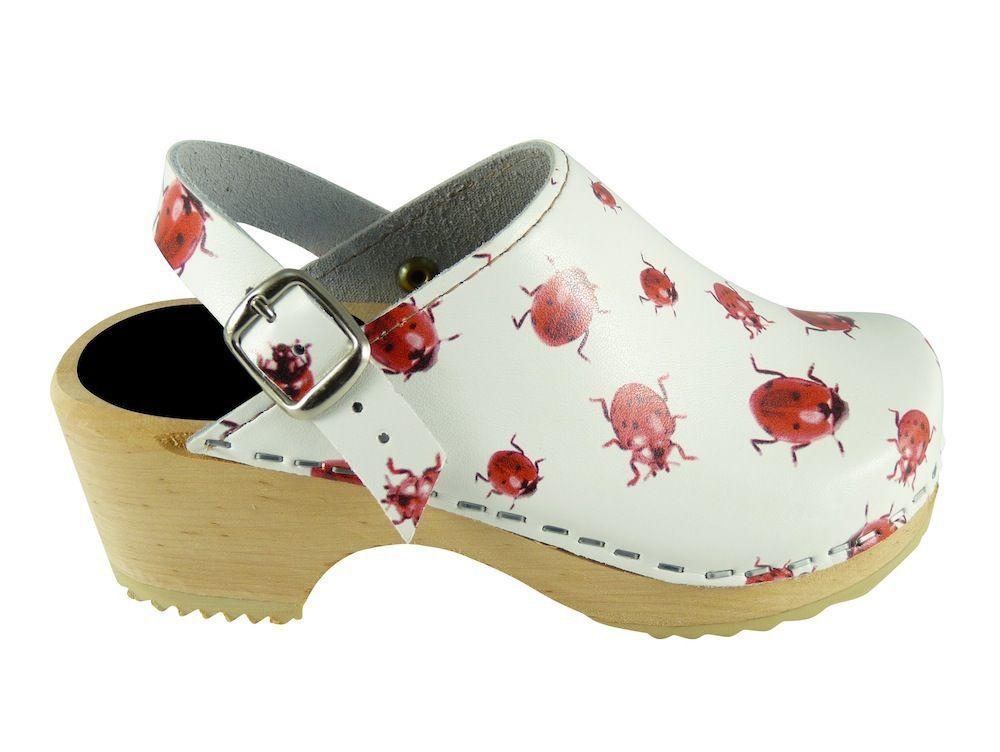 Little Lotta's Kids Classic Clogs in Ladybugs pattern
