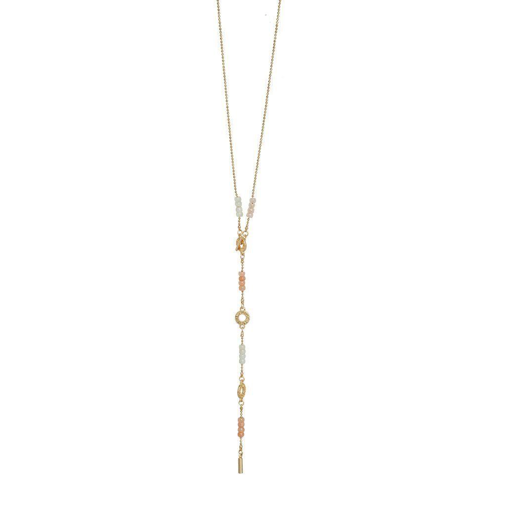 Harmony Multi- Stone Necklace Worn Gold