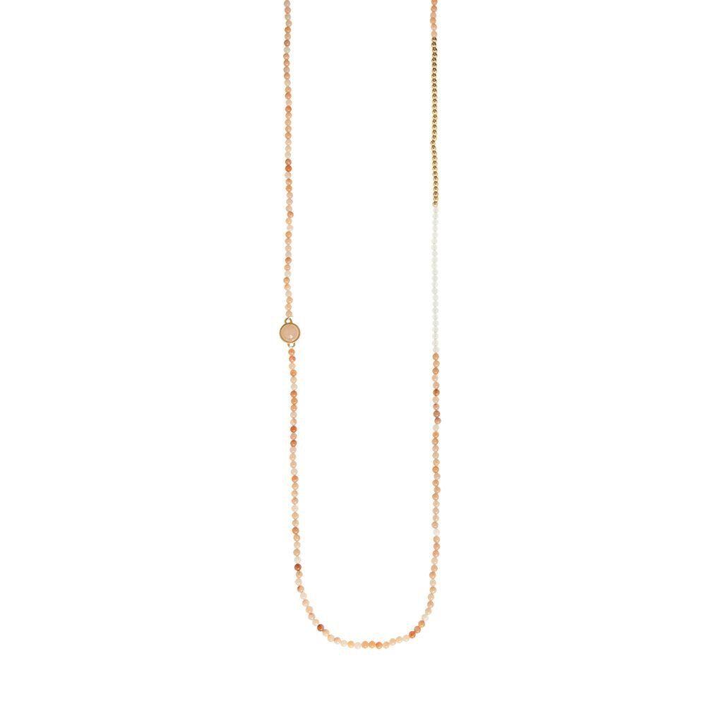 New Rose Aventurine Necklace Worn Gold