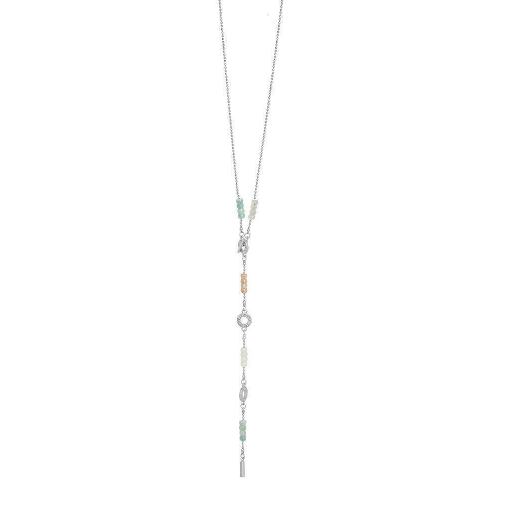 Harmony Multi- Stone Necklace Worn Silver