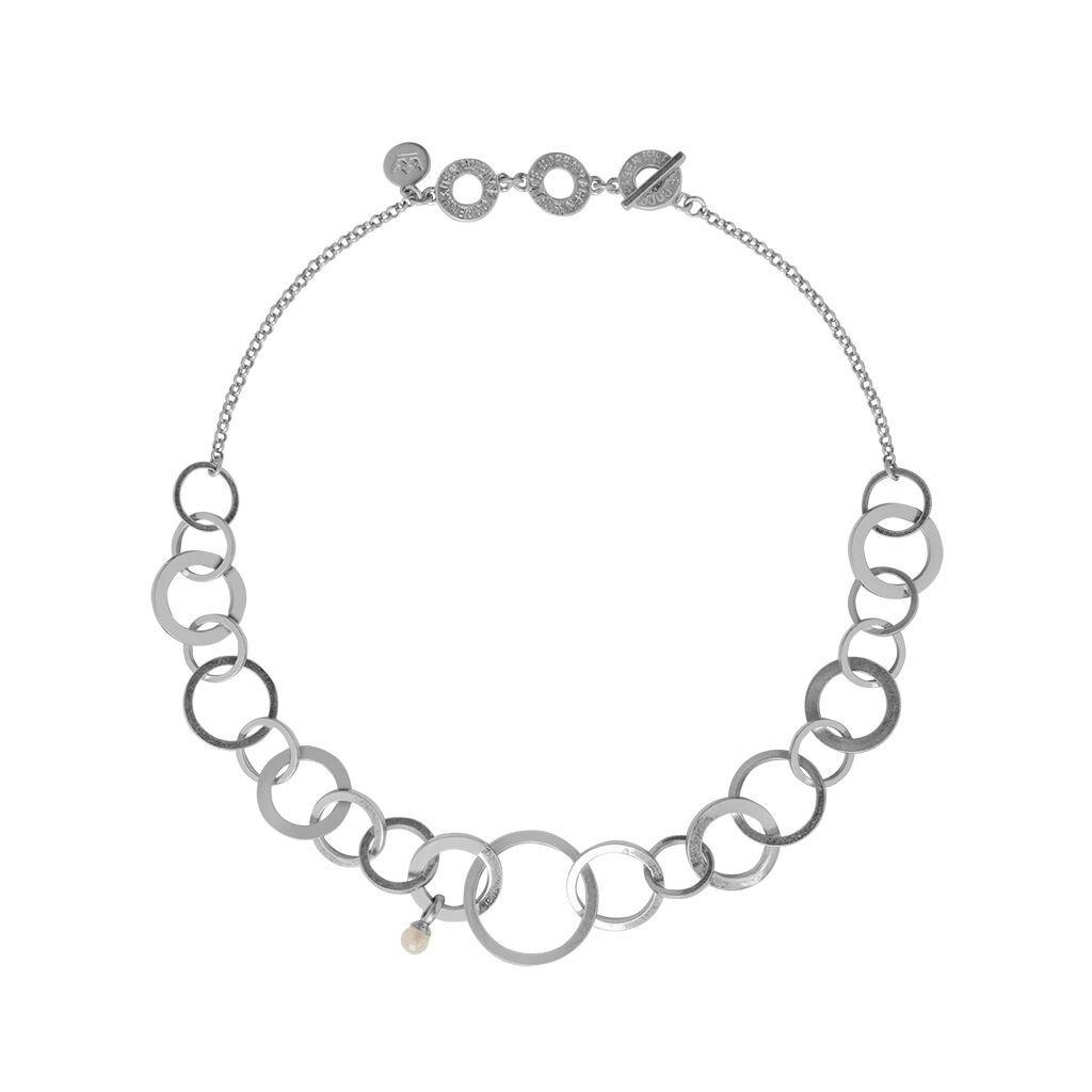 Sence Courage Necklace Worn Silver and White Jade
