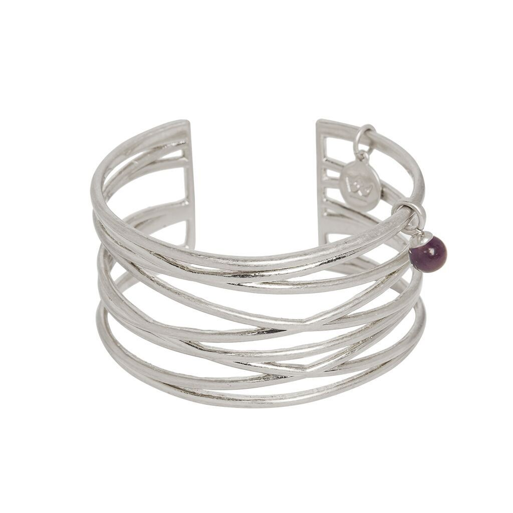 Sence Knowledge Bangle Amethyst Worn Silver