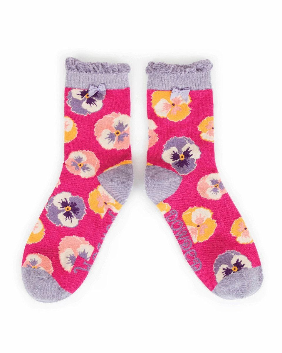 Powder Pansy Ankle Sock in Fuchsia