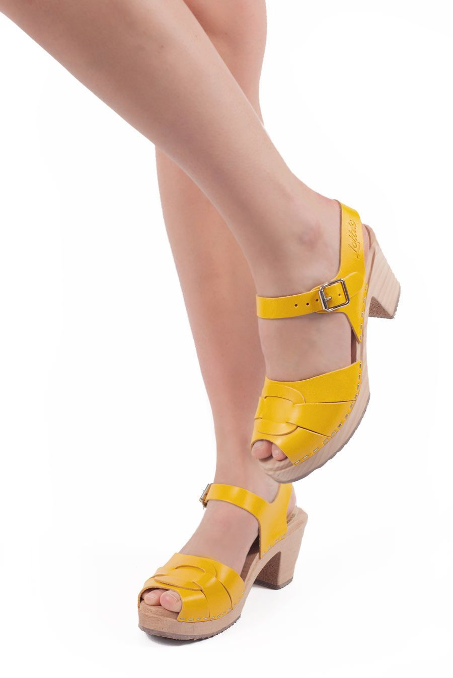 Peep Toe Clogs Summer Yellow Seconds