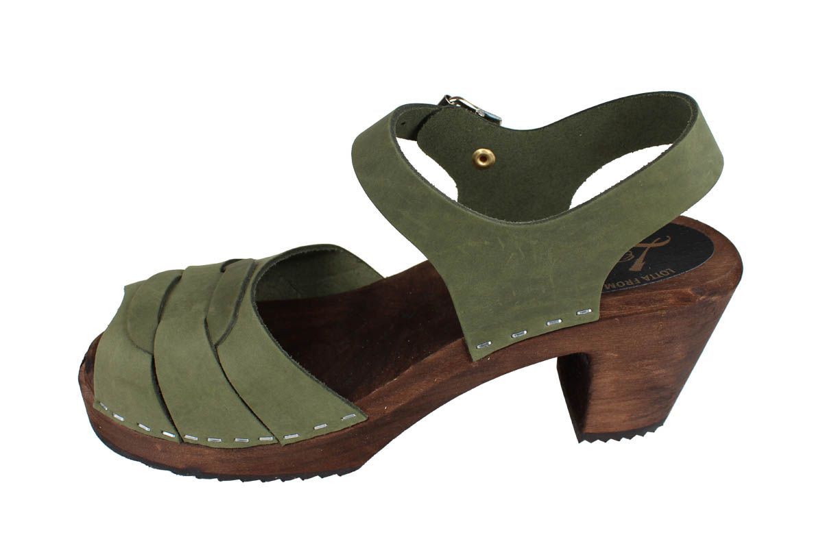 Peep Toe Clogs Green Oiled Nubuck on Brown Base Seconds